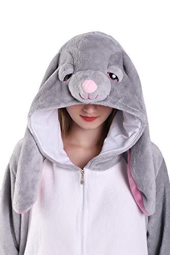 EJsoyo Adult Onesie Bunny Sleepwear Lion Animal Puppy Cartoon Costume and Teens Pajamas Unisex Christmas Halloween Cosplay (Rabbit, XL)