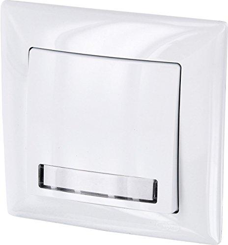 UP Klingeltaster mit Namensschild + LED-Beleuchtung - All-in-One - Rahmen + Unterputz-Einsatz + Abdeckung (Serie G1 reinweiß)
