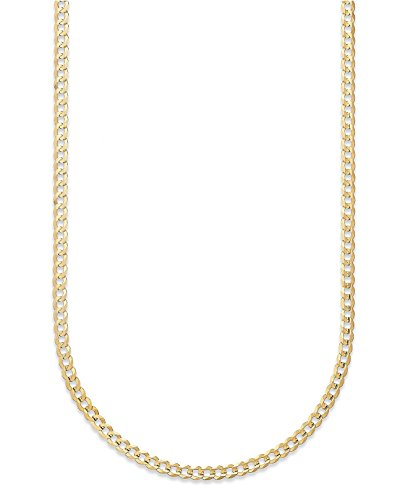 18K Yellow Gold 3.5MM, 5MM, or 6.5MM Cuban Curb Link Chain Necklaces or Bracelets- Made in Italy-18 Karat (24, 3.5MM)