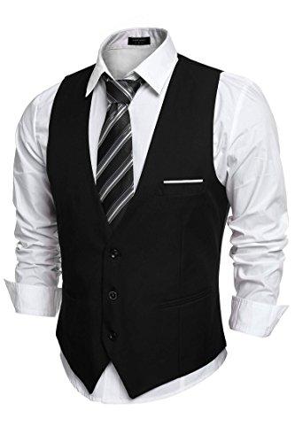 COOFANDY Mens V-Neck Sleeveless Slim Fit Jacket Casual Suit Vests,X-Large,Black-02