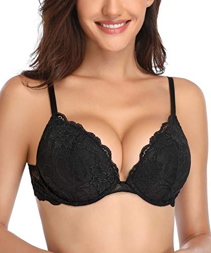 Deyllo Women's Push Up Lace Bra Comfort Padded Underwire Bra Lift Up Add One Cup(Black,32DD