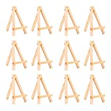 WOWOSS 12 Pack 5' Mini Wood Display Easel, Natural Wooden Tripod Holder Stand for Displaying Small Canvases, Business Cards, Photos