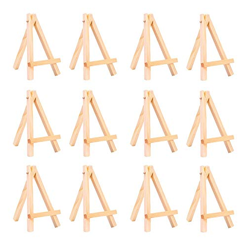"""WOWOSS 12 Pack 5"""" Mini Wood Display Easel, Natural Wooden Tripod Holder Stand for Displaying Small Canvases, Business Cards, Photos"""