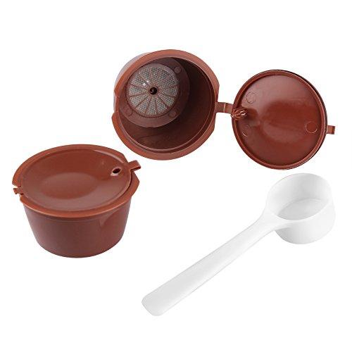 OurLeeme 2 cápsulas recargables de café Dolce Gusto Cápsulas de café reutilizables compatibles con Nescafe Genio, Piccolo, Esperta y Circolo (con cuchara de café)
