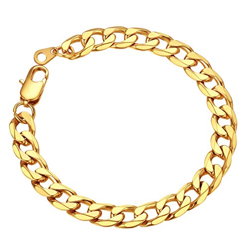 Gold Bracelet for Men Wrist Chain 8mm 8.3' Golden Cuban Link Bracelets