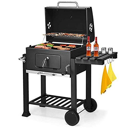 QHGao Charcoal draagbare barbecue en buitentuin koken met rol, voor thuis, kolen, grote buiten, Villa Hout, grill, 5 personen of meer BBQ grill-tools