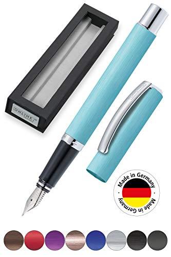 ONLINE Füller Vision Turquoise, Füllfederhalter mit klarem Design, matt gebürstetes Aluminium, Iridium-Feder M, für Standard-Tintenpatronen und Konverter geeignet, Geschenkverpackung   Farbe: türkis