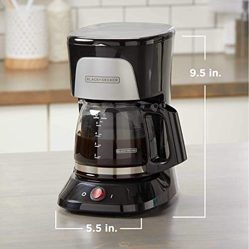 BLACK+DECKER 5-Cup Coffeemaker with Duralife Glass Carafe, Black, CM0555B