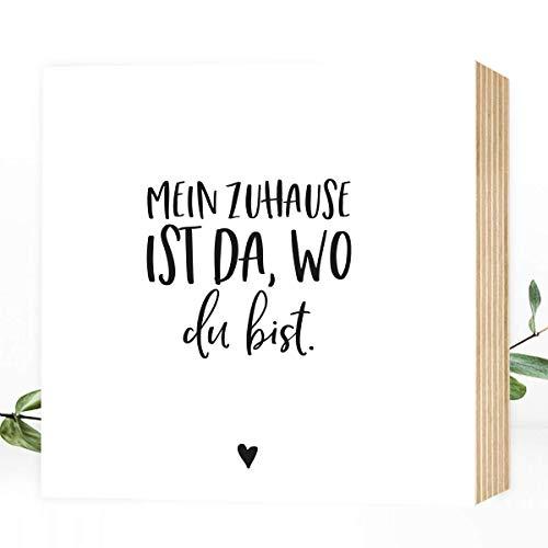 Wunderpixel® Holzbild Mein Zuhause ist da, wo du bist - 15x15x2cm zum Hinstellen/Aufhängen, echter Fotodruck mit Spruch auf Holz - schwarz-weißes Wand-Bild Aufsteller Dekoration und Geschenk-Idee