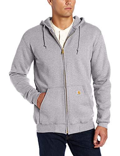 Carhartt Herren Midweight Hooded Zip-Front Sweatshirt, Heather Grey, XS