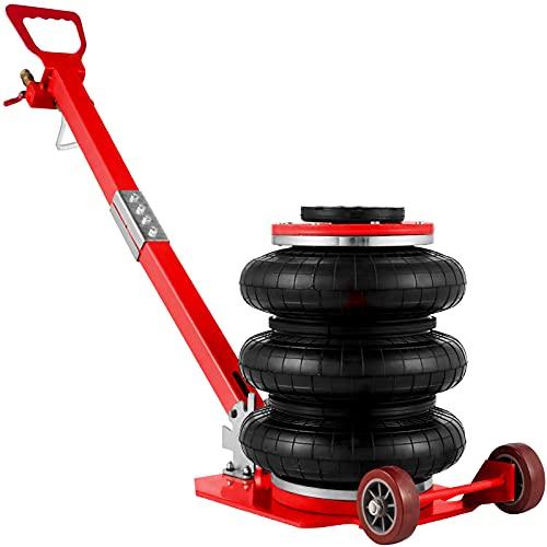 VEVOR Gato Neumático de Aire con Capacidad de 3 T, Gato de Aire para Coche Altura 150-400 mm, Gato Neumático Taller con Mango, Triple Bolsa de Gato Neumático, Gato Neumático para Automóviles (Rojo)
