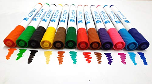 Ezmark - 12 Colour Whiteboard Marker or Dry Erase Marker or Temporary Marker