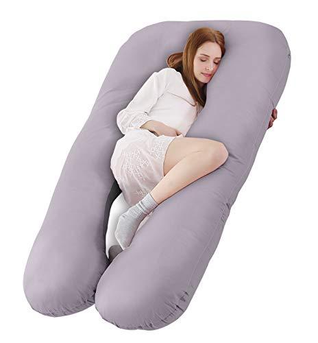 SALAD HOUSE U-förmiges Schwangerschaftskissen Seitenschläferkissen Lagerungskissen mit Abnehmbarem und Waschbarem 100% Baumwolle 320TC Stickerei Design (Hellgrau, 140 x 80 cm)