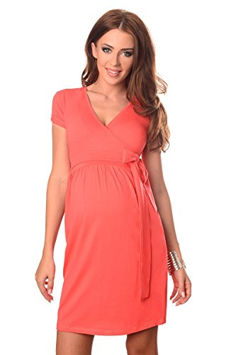 Purpless Damen Umstandsmode Umstandskleid Schwangerschaft Cocktailkleid V-Ausschnitt Kurzarm 5416 (44, Coral)