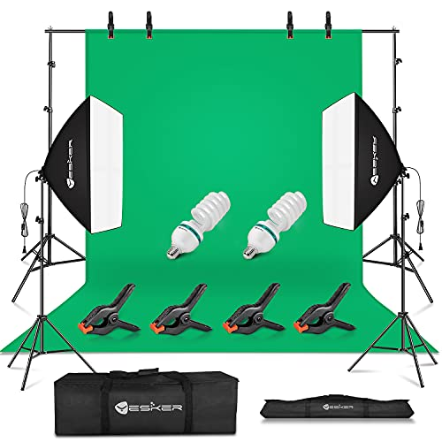 Yesker Photography Studio Lighting Kit, 8.5x10ft Background Support System, 5500k Day Light Bulbs, Softbox Backdrop Continuous Lighting Equipment for Photo Video Portrait Shooting