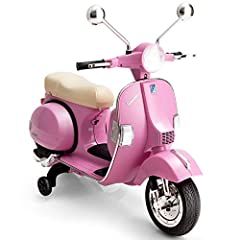 Safe & Comfortable Driving Experience: The vespa scooter is equipped with 2 training wheels, which are capable of keeping it extremely stable, so as to free your kids from the danger of falling over. In addition, wide curved seat fitting well with ki...