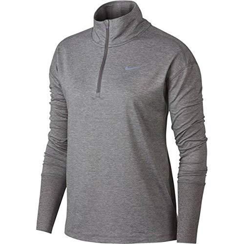 Nike Element - Camiseta con media cremallera para mujer, Negro, M