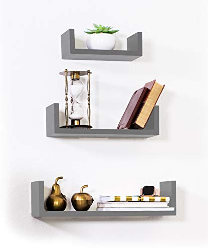 Adorn Home Essentials Floating Shelves Set of 3 with Modern U Shape and Durable Design, Simple Hanging Kit Included (Gray)