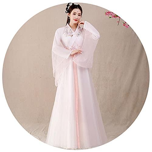XIAOXIAO Hanfu Disfraz De Estilo Chino Hanfu Para Mujer Estudiantes Falda De Media Longitud Se Viste Ropa De Mujer Daily Super Fairy Style (Color : Pink, Tamaño : XS)