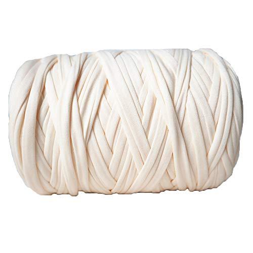 400g DIY T-Shirt Yarn Cream Elastic Cloth Yarn Spaghetti Yarn Zpagetti Yarn Home Textile Yarn DIY Knit Basket Crochet Bag Materials Crocheting Ribbon Yarn Recycled Yarn