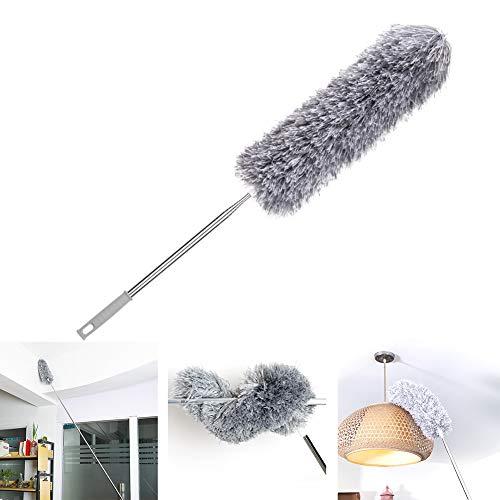 Loteaf Plumero para el hogar con mango telescópico, extra largo de 98.4in, con poste resistente y cabezal doblable de microfibra plumeros para limpiar techo, ventilador de techo y plumero de telaraña