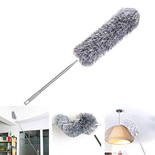 Loteaf Feather Duster for Home with Extension Pole, Extra Long 100 inches, with Heavy Duty Extendable Handle(Stainless Steel) and Bendable Head Microfiber Dusters for Cleaning Roof, Ceiling Fan&Cobweb