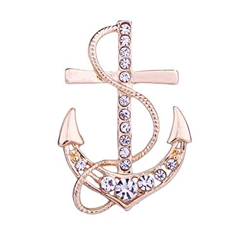 Broche Cristal de color oro de la manera europea ancla broche del barco de la manera collar del timón pernos camisa joyería collar del juego regalos de la broche Man ( Color : D , Metal color : Gold )