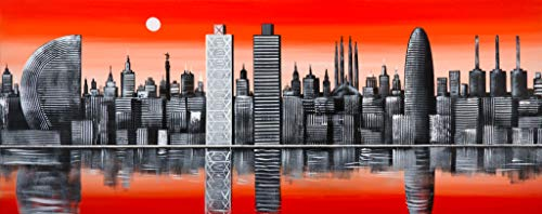 Cuadro Pintado Skyline Barcelona Naranja 150x60 cm 100% Original