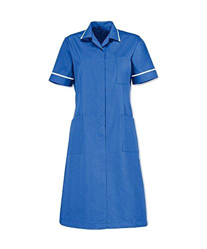 Alexandra al-d312hb-128r serie al-d312cremallera frontal vestido, Plain, Regular, ribete de tuberías/blanco, tamaño 128cm, pecho tamaño 26, Hospital azul