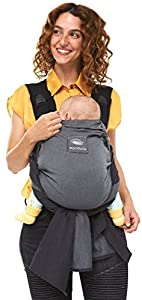 manduca Duo Portabebe > grey / gris < Innovador Sistema Click&Tie, Mochila y Fular Portabebés en Uno, Otimizado para Llevar Delante del Vientre, para Recién Nacidos & Bebés (3,5-15 kg)