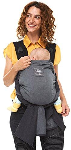 manduca DUO - Hybrid aus Babytrage & Tragetuch, Innovatives Click & Tie System, Durchrutzschutz fürs Baby, Abnehmbarer Hüftgurt, Bio-Baumwolle und Mesh, ab Geburt bis 15kg (grey/grau)