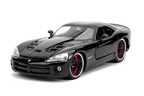 Jada Toys 253203057 Fast & Furious Letty's Dodge Viper SRT-10 - Coche Tuning a Escala 1:24 para Abrir Puertas, capó y Maletero, Rueda Libre, Negro Brillante