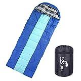 Udonia - Sacco a pelo leggero per tutte le stagioni (da -10 a + 15 °C) per campeggio o attività all'aperto, dimensioni ridotte e completamente apribile a una coperta (blu)