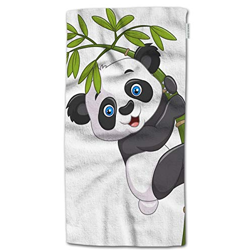 """HGOD DESIGNS Hand Towel Panda,Cartoon Cute Funny Baby Panda Hanging On The Bamboo Hand Towel Best for Bathroom Kitchen Bath and Hand Towels 30"""" Lx15 W"""