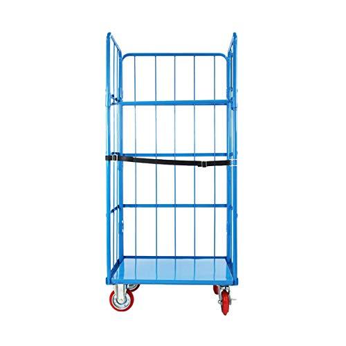 カゴ台車 かご台車 カゴ車 ロールボックス ロールパレット パレット 看板黒板 業務用台車 大型台車 キャスター ブルー W110×D80×H170(cm) Cタイプ cago-blue-w110-c
