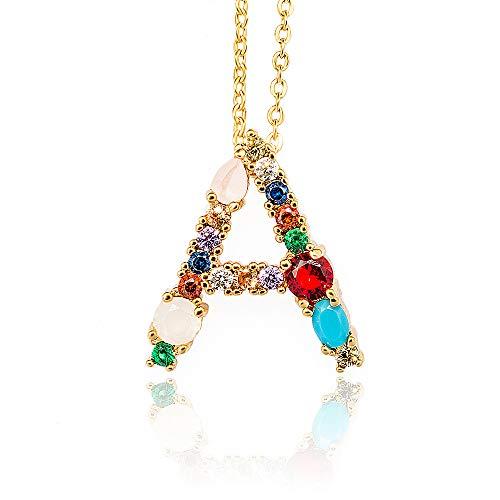 Moca Jewelry - Gargantilla chapada en oro de 18 quilates con colgante de 26 letras, diseño de letra
