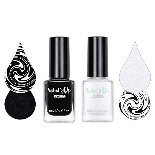 Whats Up Nails - Essentials Collection Stamping Polishes 2 pack (White, Black) 7 Free Cruelty Free Vegan