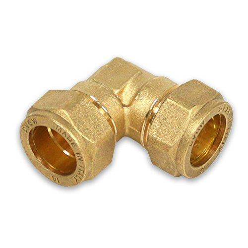 Messing-Klemmverschraubung für Kupferrohre, 90° Winkel, 15-15mm