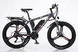 BWJL Bicicletas eléctricas para los Adultos, en Bicicletas de aleación de magnesio Ebikes de Tierra, 26'batería extraíble 350W 36V 13Ah Litio-Ion Ebike Montaña Hombres,Rojo,13Ah80Km
