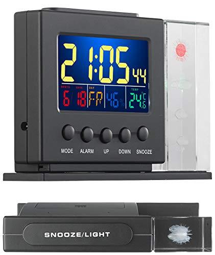 infactory Tischthermometer: 3D-Hologramm-Wetterstation mit Thermometer, Hygrometer, Uhr & Wecker (Wetterstation Farbdisplay groß)