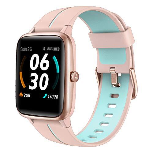 AKWLOVY Smartwatch con GPS Integrado para Mujer, 1.3  Pantalla Táctil Pulsómetro, Monitor de Sueño, IP68 Impermeable con 14 Modos Deporte Pulsera Actividad Inteligente para Android iOS