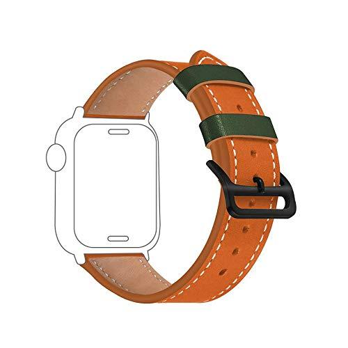 Mostop Cinturino in pelle bovina compatibile con Apple Watch Strap 38 mm/40 mm, cinturino di ricambio in pelle per iWatch Series 6/5/4/3/2/1/SE, colore: Arancione