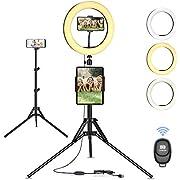 10 Zoll Ringlicht mit Stativ, Selfie Ringleuchte, Live Licht, 10 Helligkeitsstufen 3 Farbe, für live Streaming, Tik Tok, YouTube, Schöne Fotos oder Videosschooting