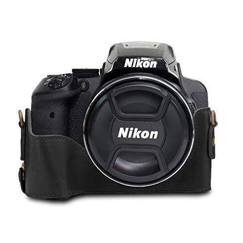 MegaGear Ever Ready MG954 - Funda de Piel con Correa para cámara Nikon Coolpix P900 y P900S, Color Negro