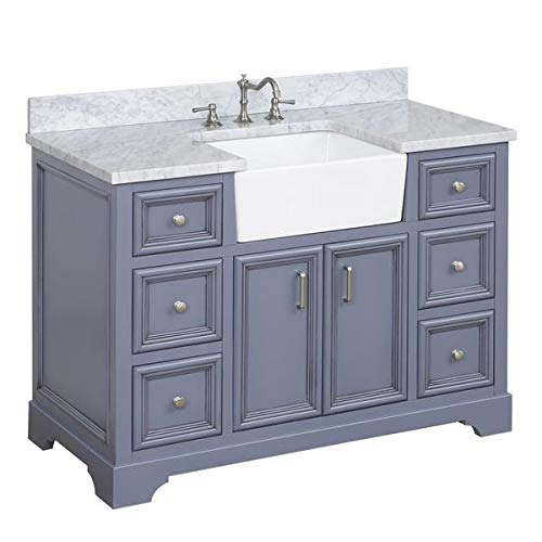 Zelda 48-inch Bathroom Vanity (Carrara/Powder Gray): Includes Powder Gray Cabinet with Authentic Italian Carrara Marble Countertop and White Ceramic Farmhouse Apron Sink