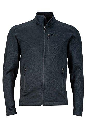 Marmot Drop Line Men's Jacket, Lightweight 100-Weight Sweater Fleece, Jet Black, Large