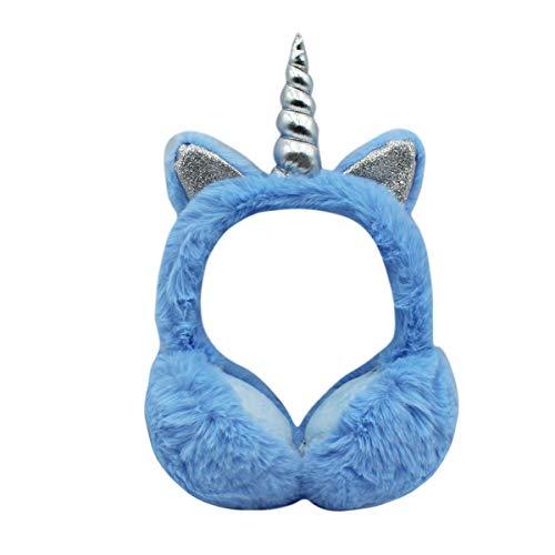 Ohrenschützer für Damen und Mädchen, flauschiges Kunstfell, Einhorn, faltbar, Winter-Ohrenwärmer mit Glitzer-Katzenohren für Kinder und Jugendliche - Blau - Einheitsgröße