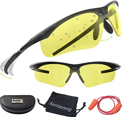 HUNTERSKY Tactical Shooting Safety Glasses Military Ballistic Impact Resistance, Yellow Lens,...