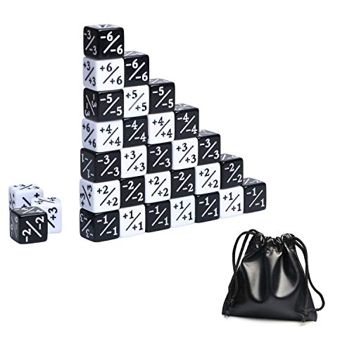 TOPTAN 36Pcs MTG Token Loyalty Dice 18 x Positive +1/+1 and 18 x Negative -1/-1 Dice Counters with Leather Bag for Magic The Gathering CCG MTG Table Game