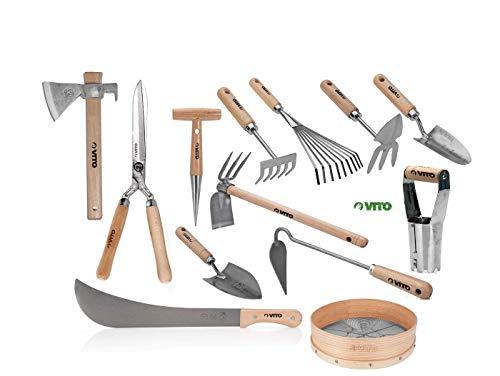 VITO Garden - Großes Gartenwerkzeug Set Holz, 13-teilig - Hochwertig und traditionell handgeschmiedete Garten-Kleingeräte - Gartengeräte Set (Set5 13-TLG)